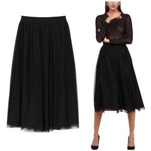 H&M Black Tulle Midi Skirt